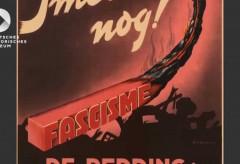 """Deutsches Historisches Museum –  """"Es schwelt noch!"""", Plakat der Partei der Arbeit, Niederlande, 1947"""