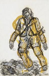 Georg Baselitz (*1938) Ein neuer Typ, 1965 Gouache, Tusche laviert und Ölkreide auf Papier, 48,7 x 31,7 cm Privatsammlung © Georg Baselitz 2016 Foto: Jochen Littkemann, Berlin
