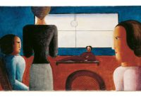 Oskar Schlemmer – Innenraum mit fünf Figuren, 1928
