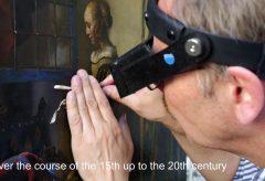 """Firnisabnahme von Johannes Vermeers Gemälde """"Brieflesendes Mädchen am offenen Fenster"""""""